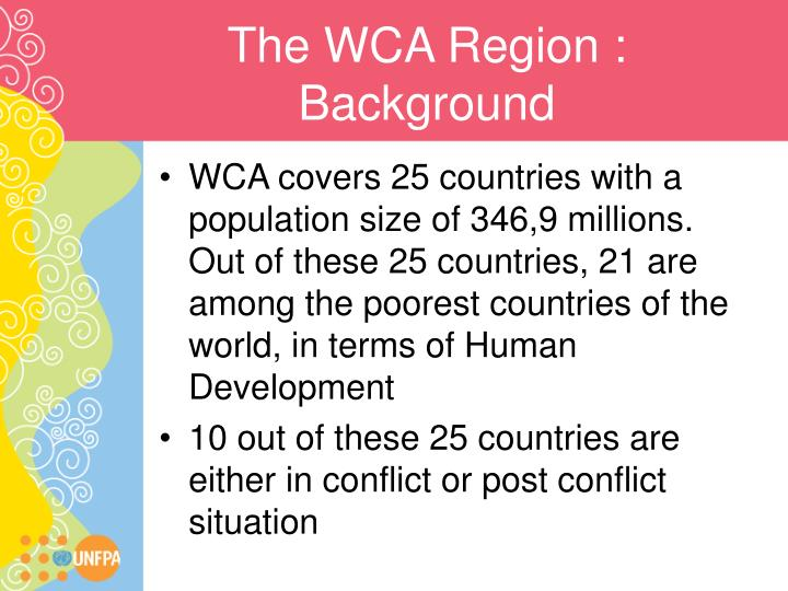The wca region background