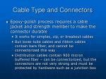 cable type and connectors