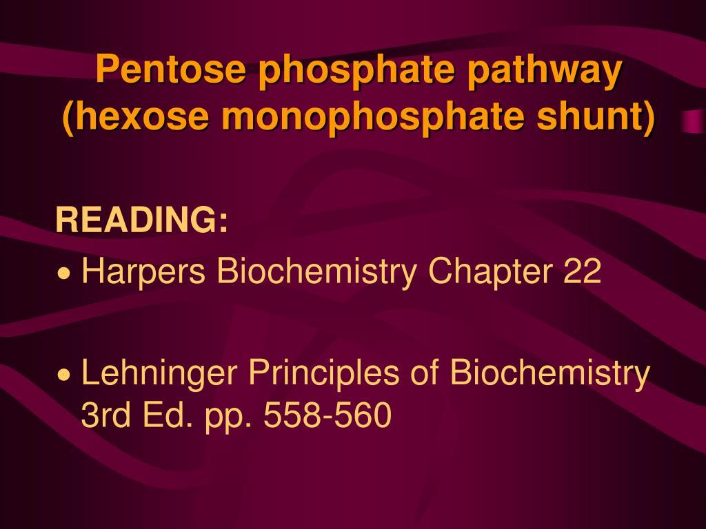 pentose phosphate pathway hexose monophosphate shunt l.
