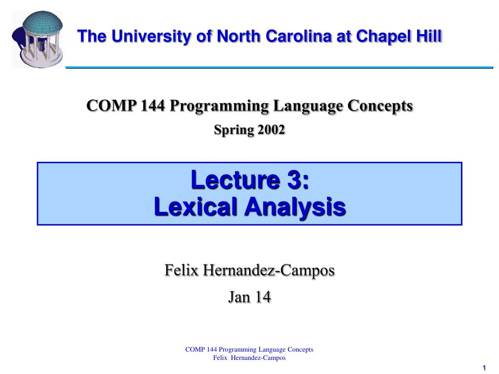 lecture 3 lexical analysis l.