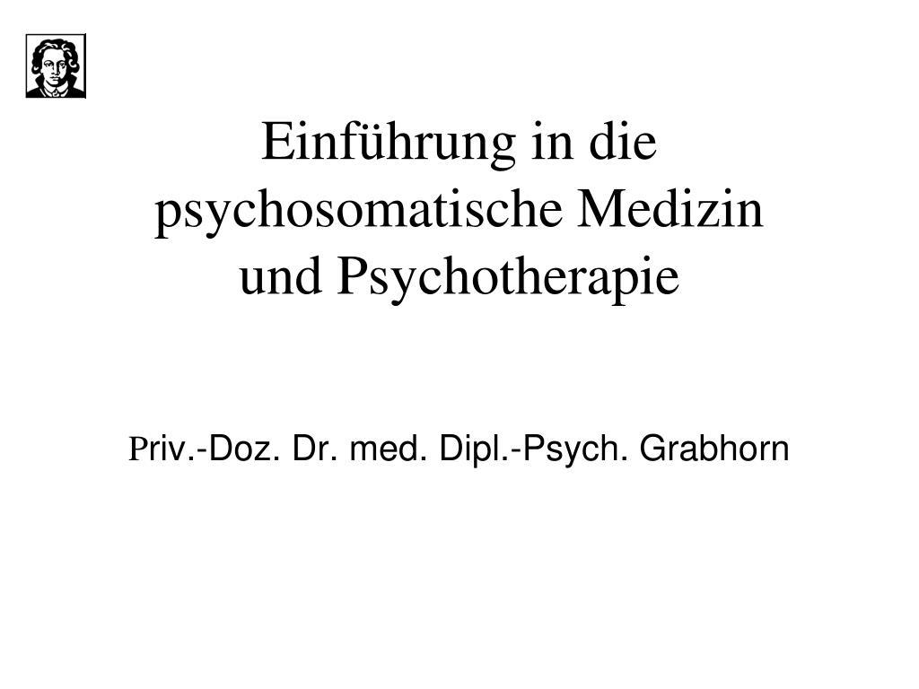 einf hrung in die psychosomatische medizin und psychotherapie l.