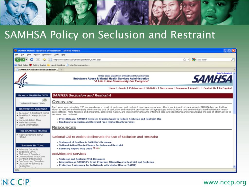 SAMHSA Policy on Seclusion and Restraint