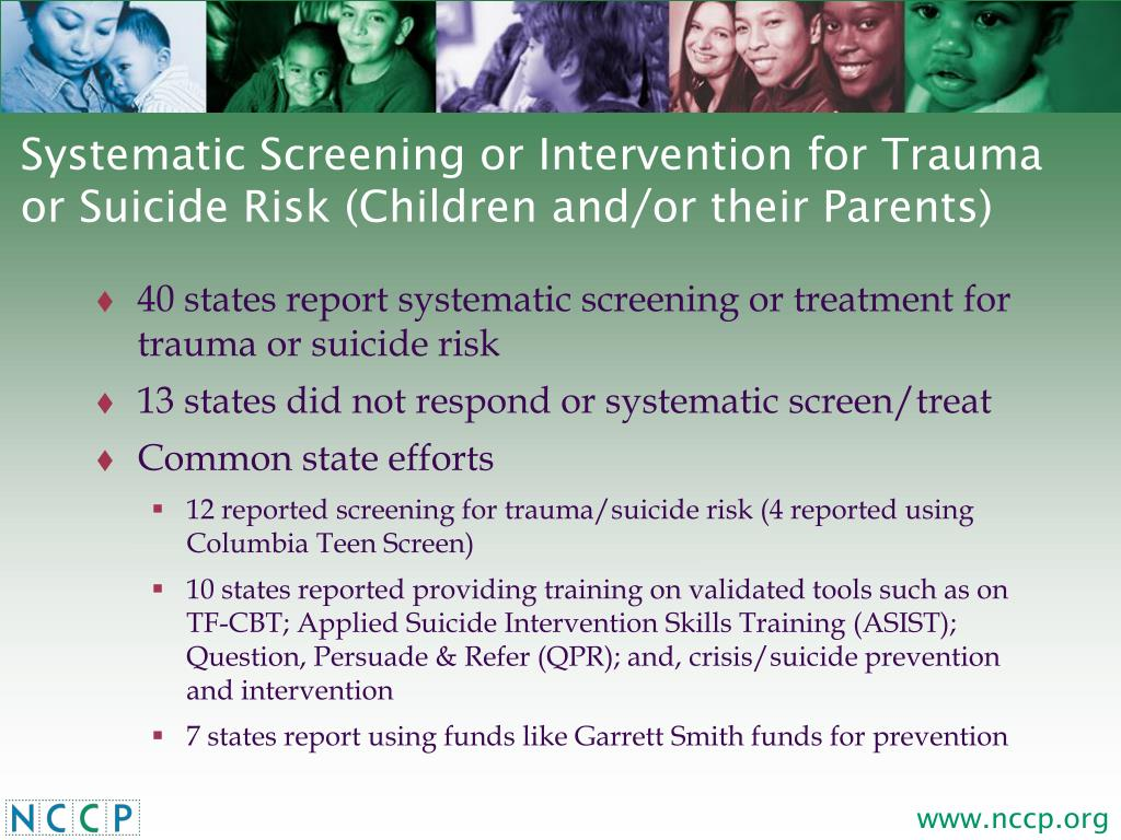 Systematic Screening or Intervention for Trauma or Suicide Risk (Children and/or their Parents)