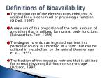 definitions of bioavailability