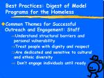 best practices digest of model programs for the homeless