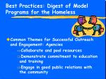 best practices digest of model programs for the homeless12