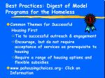 best practices digest of model programs for the homeless13
