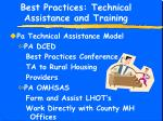 best practices technical assistance and training