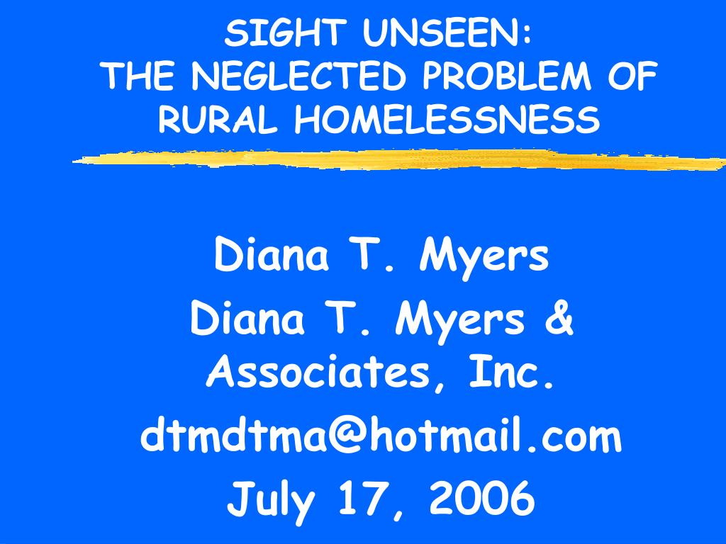 sight unseen the neglected problem of rural homelessness l.