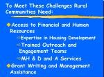 to meet these challenges rural communities need10
