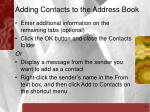 adding contacts to the address book31