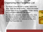 organizing the favorites list16