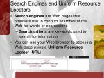 search engines and uniform resource locators