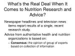 what s the real deal when it comes to nutrition research and advice