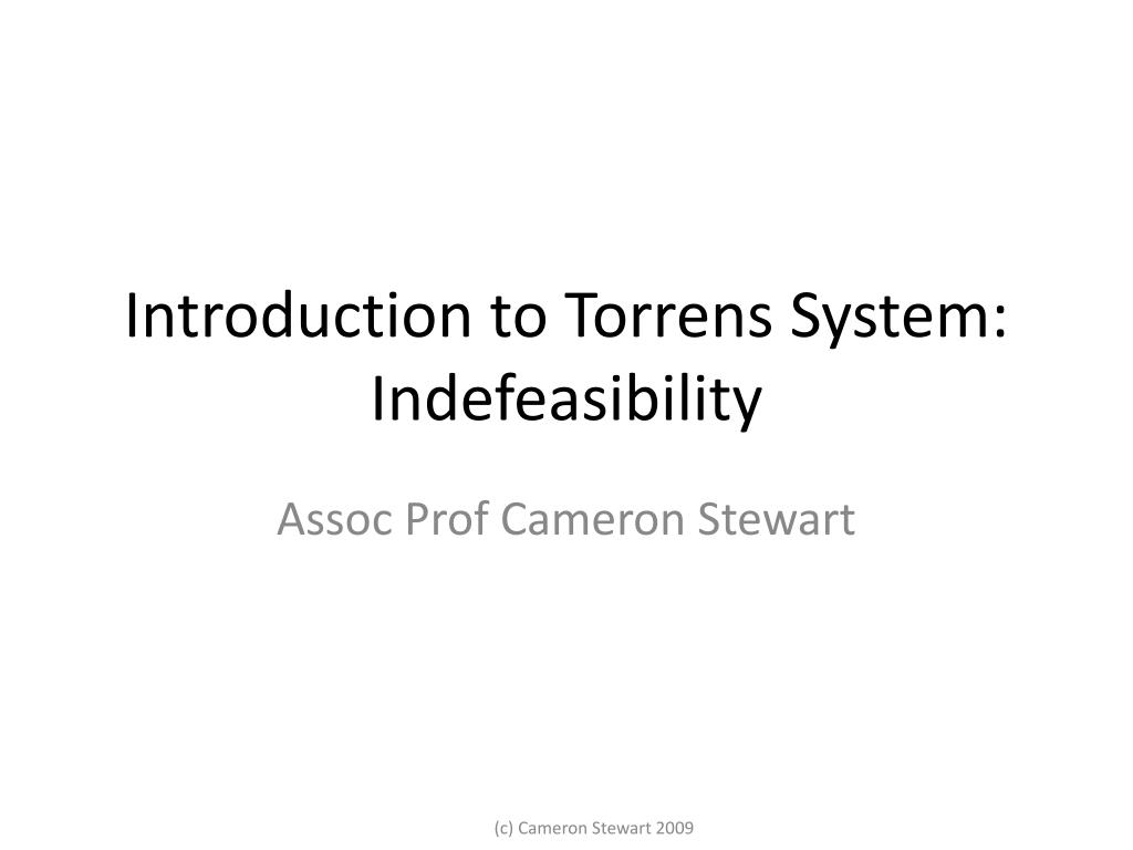 introduction to torrens system indefeasibility l.