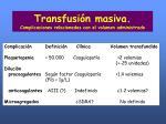 transfusi n masiva complicaciones relacionadas con el volumen administrado