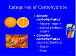 categories of carbohydrate