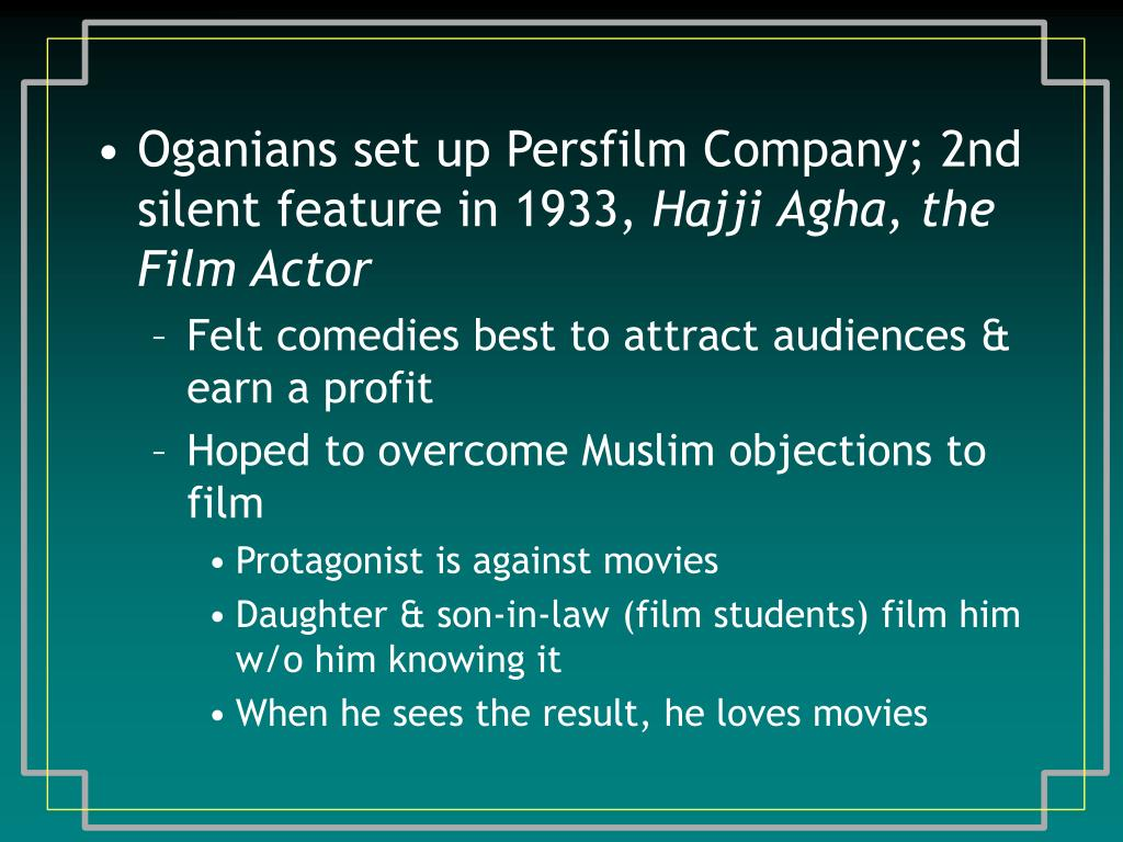 Oganians set up Persfilm Company; 2nd silent feature in 1933,