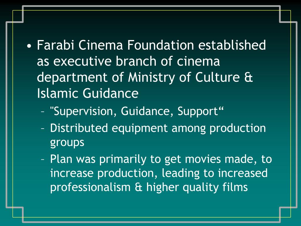 Farabi Cinema Foundation established as executive branch of cinema department of Ministry of Culture & Islamic Guidance