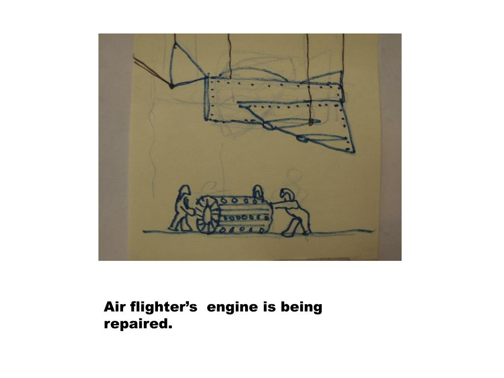 Air flighter's  engine is being repaired.