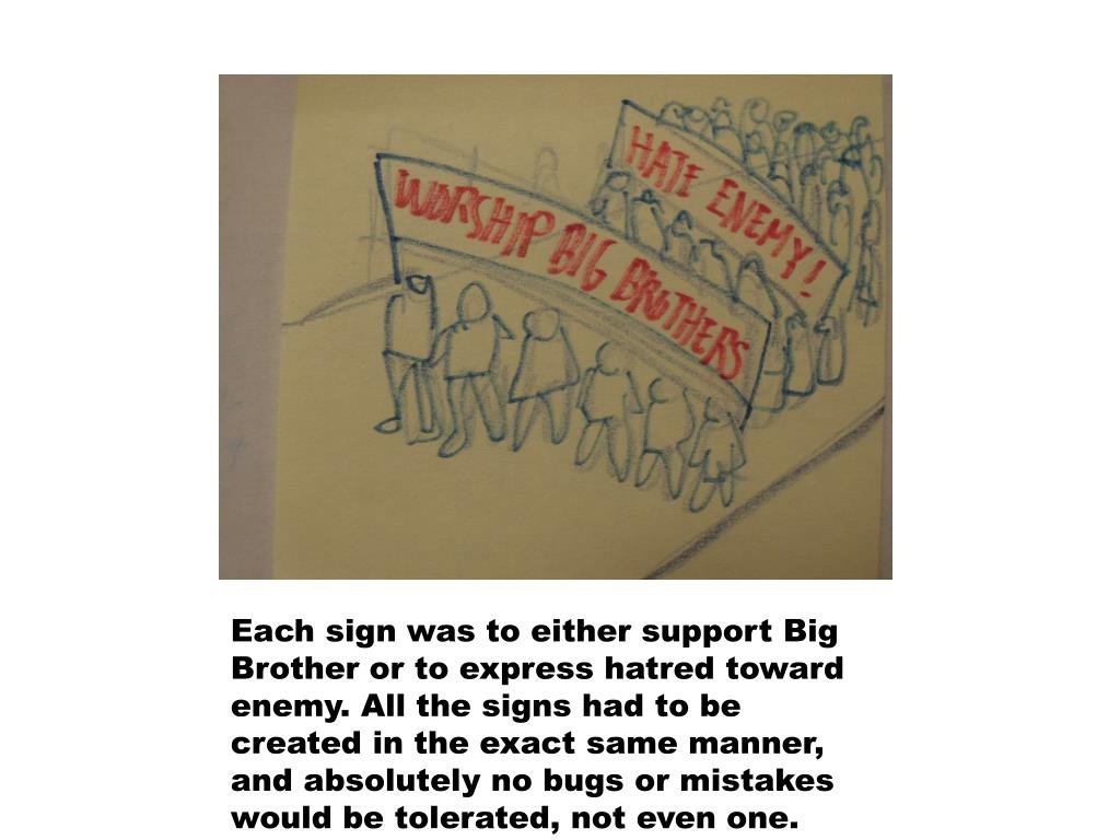 Each sign was to either support Big Brother or to express hatred toward enemy. All the signs had to be created in the exact same manner, and absolutely no bugs or mistakes would be tolerated, not even one.