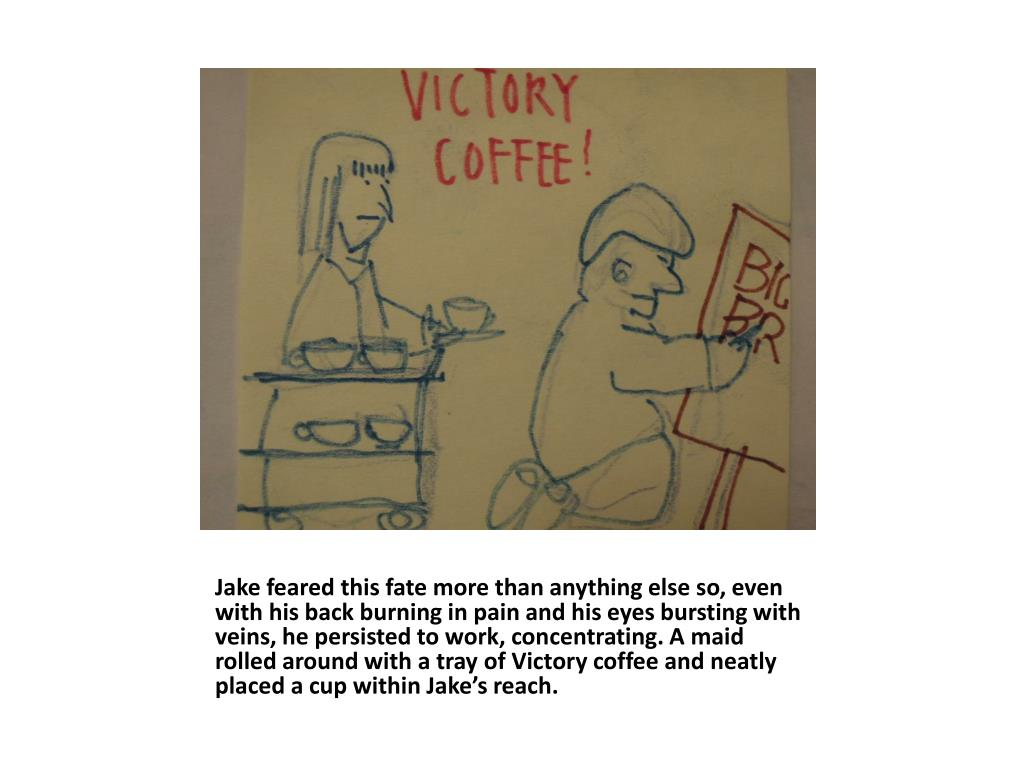 Jake feared this fate more than anything else so, even with his back burning in pain and his eyes bursting with veins, he persisted to work, concentrating. A maid rolled around with a tray of Victory coffee and neatly placed a cup within Jake's reach.