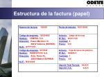 estructura de la factura papel