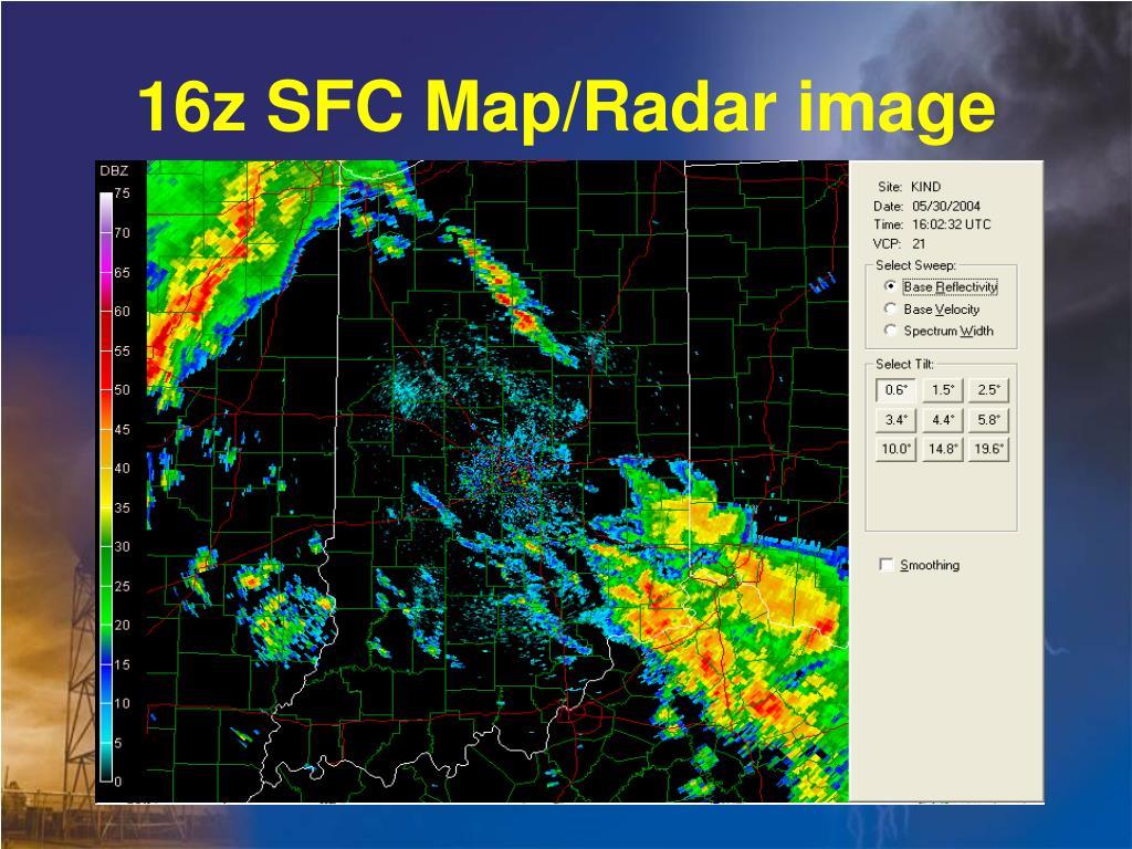 16z SFC Map/Radar image