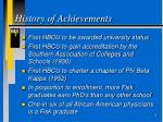 history of achievements