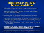 highlights of the 2007 recommendations11