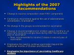 highlights of the 2007 recommendations13