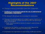 highlights of the 2007 recommendations4
