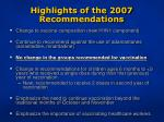 highlights of the 2007 recommendations5