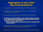 highlights of the 2007 recommendations9