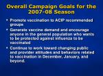 overall campaign goals for the 2007 08 season