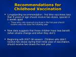 recommendations for childhood vaccination