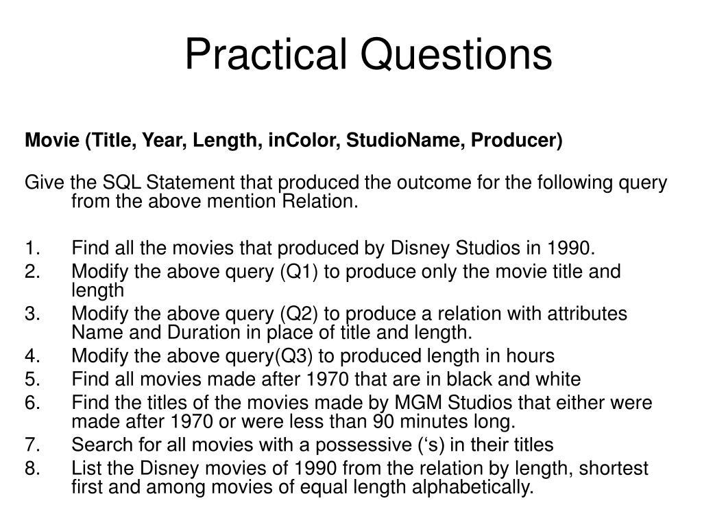 practical questions l.