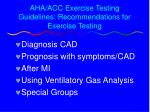 aha acc exercise testing guidelines recommendations for exercise testing
