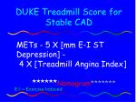 duke treadmill score for stable cad