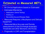 estimated vs measured mets