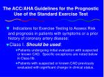 the acc aha guidelines for the prognostic use of the standard exercise test