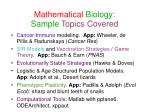 mathematical biology sample topics covered