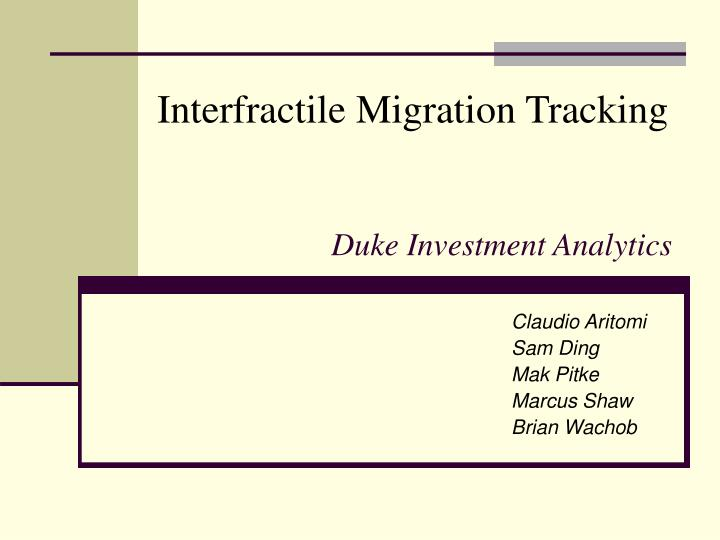 duke investment analytics n.