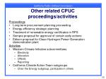 other related cpuc proceedings activities
