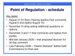point of regulation schedule