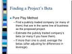 finding a project s beta