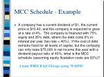 mcc schedule example