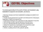 gdybl objectives