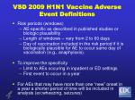 vsd 2009 h1n1 vaccine adverse event definitions