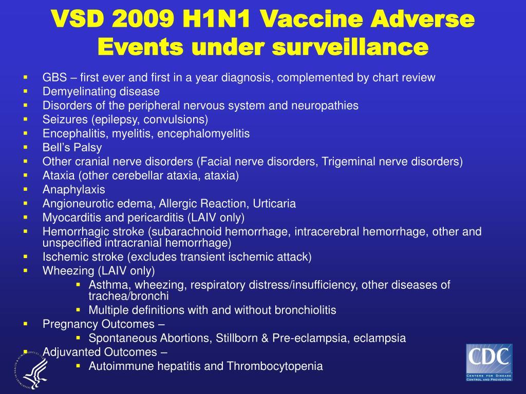 VSD 2009 H1N1 Vaccine Adverse Events under surveillance